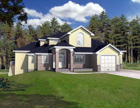 Contemporary House Plan 63545 with 3 Beds, 3 Baths, 2 Car Garage Elevation