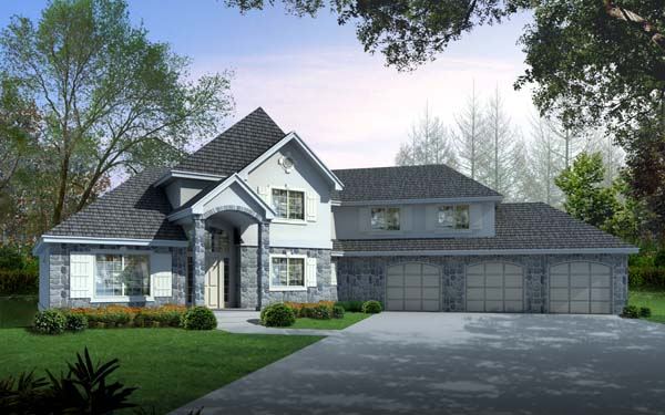 Country, European House Plan 63546 with 3 Beds, 3 Baths, 3 Car Garage Elevation