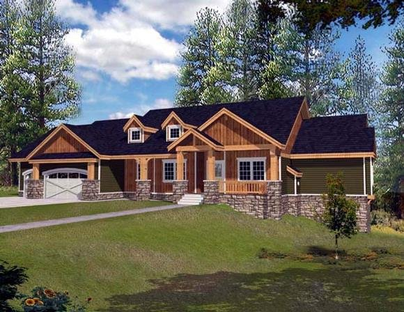 Ranch House Plan 63547 with 4 Beds, 4 Baths, 3 Car Garage Elevation