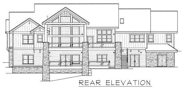 Ranch House Plan 63547 with 4 Beds, 4 Baths, 3 Car Garage Rear Elevation