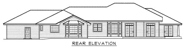 Southern House Plan 63550 with 4 Beds, 3 Baths, 4 Car Garage Rear Elevation