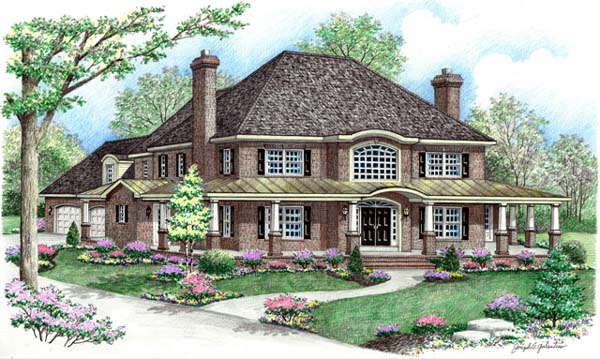 Contemporary, Farmhouse House Plan 64414 with 4 Beds, 3 Baths, 2 Car Garage Elevation
