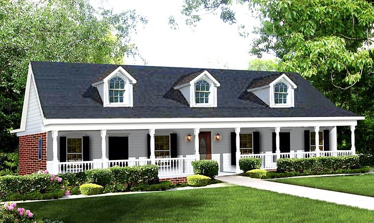 Colonial, One-Story, Southern House Plan 64511 with 4 Beds, 3 Baths, 2 Car Garage Elevation