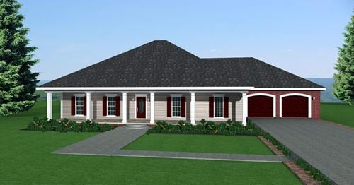 European, One-Story House Plan 64542 with 3 Beds, 2 Baths, 2 Car Garage Elevation