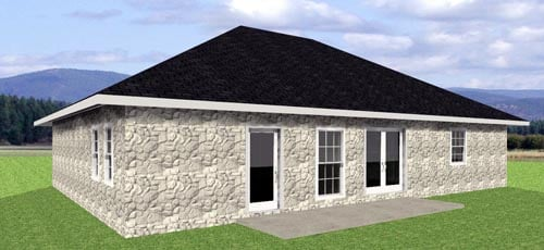 One-Story, Traditional House Plan 64548 with 3 Beds, 2 Baths, 2 Car Garage Rear Elevation