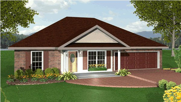 One-Story, Traditional House Plan 64549 with 3 Beds, 2 Baths, 2 Car Garage Elevation