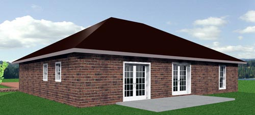 One-Story, Traditional House Plan 64549 with 3 Beds, 2 Baths, 2 Car Garage Rear Elevation
