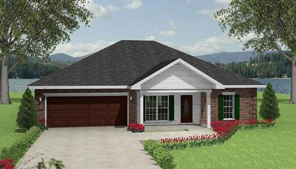 Traditional House Plan 64550 with 3 Beds, 2 Baths, 2 Car Garage Elevation