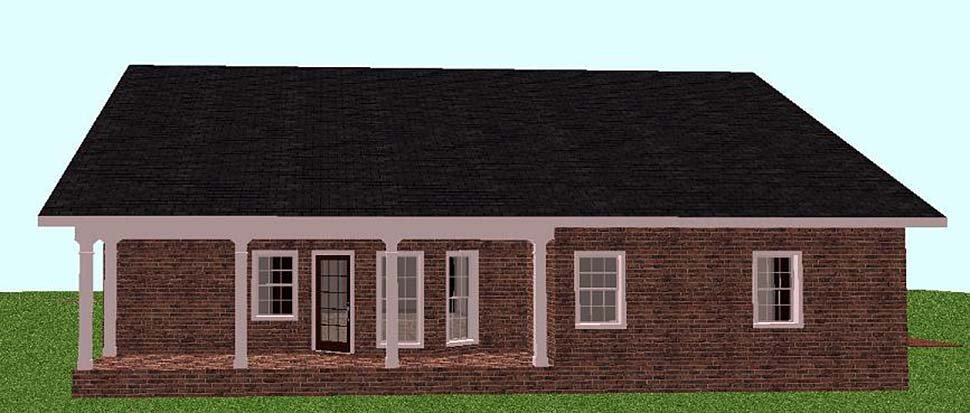 Country, Southern House Plan 64551 with 3 Beds, 2 Baths, 2 Car Garage Rear Elevation