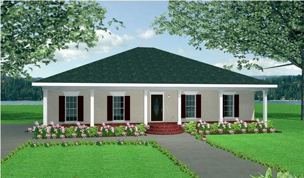 Country, One-Story House Plan 64552 with 3 Beds, 2 Baths, 2 Car Garage Elevation