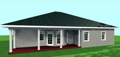 Country, One-Story House Plan 64552 with 3 Beds, 2 Baths, 2 Car Garage Rear Elevation