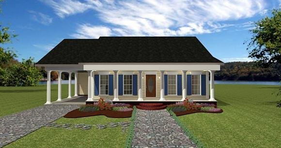 One-Story House Plan 64557 with 2 Beds, 2 Baths, 1 Car Garage Elevation