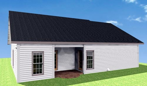 One-Story House Plan 64557 with 2 Beds, 2 Baths, 1 Car Garage Rear Elevation