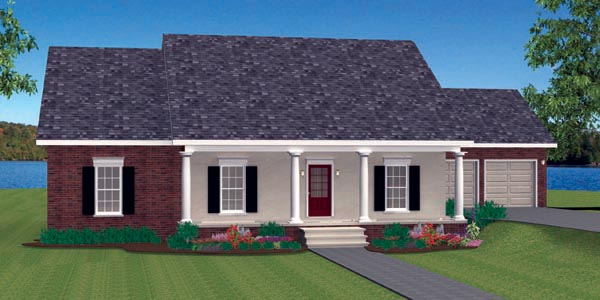 Country, One-Story House Plan 64573 with 3 Beds, 2 Baths, 2 Car Garage Picture 2