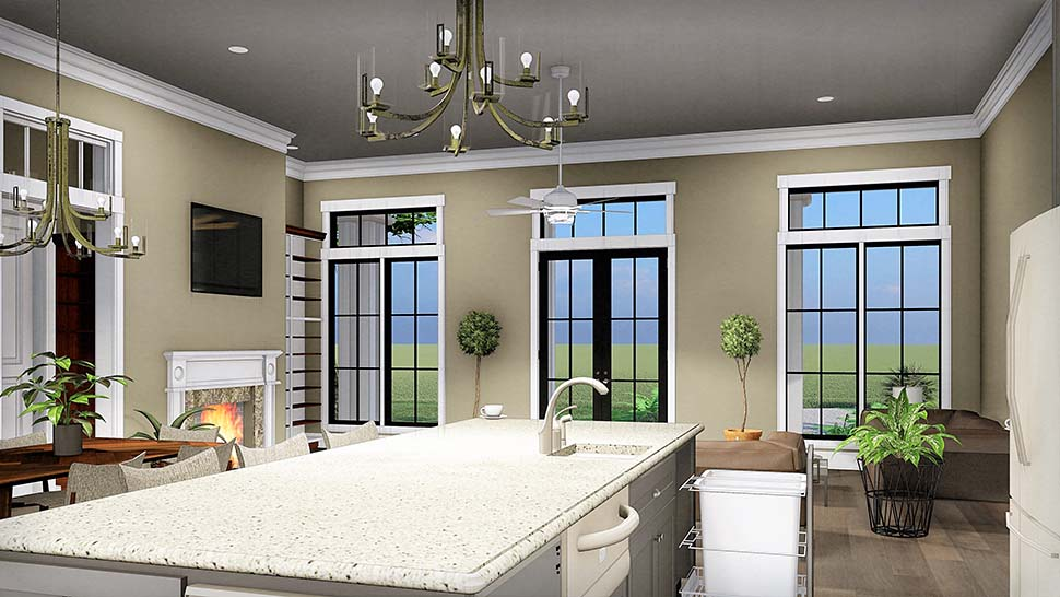 Colonial, Country, Southern House Plan 64599 with 3 Beds, 2 Baths, 2 Car Garage Picture 3