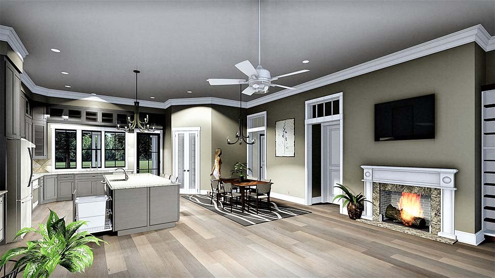 Colonial, Country, Southern House Plan 64599 with 3 Beds, 2 Baths, 2 Car Garage Picture 4