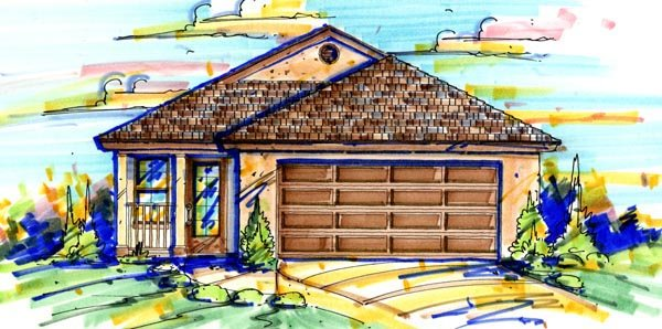 Traditional House Plan 64602 with 3 Beds, 2 Baths, 2 Car Garage Elevation