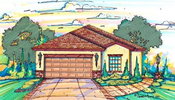 Narrow Lot, One-Story House Plan 64603 with 3 Beds, 2 Baths, 2 Car Garage Elevation