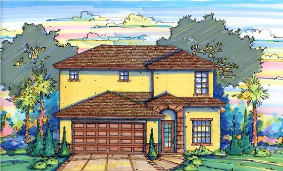 Narrow Lot House Plan 64604 with 4 Beds, 3 Baths, 2 Car Garage Elevation