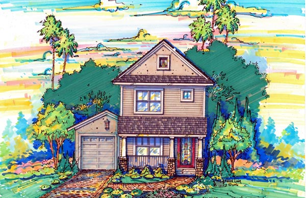 Narrow Lot House Plan 64606 with 3 Beds, 3 Baths, 1 Car Garage Elevation