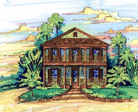 Narrow Lot House Plan 64608 with 3 Beds, 3 Baths, 2 Car Garage Elevation