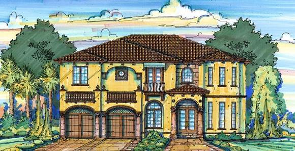European House Plan 64722 with 4 Beds, 5 Baths, 2 Car Garage Elevation
