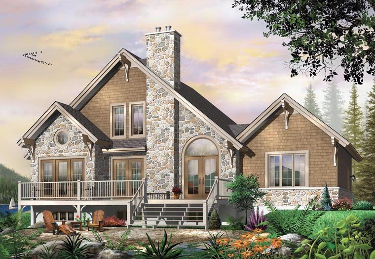 Coastal, Country, Craftsman, European, Traditional House Plan 64810 with 3 Beds, 3 Baths, 1 Car Garage Elevation