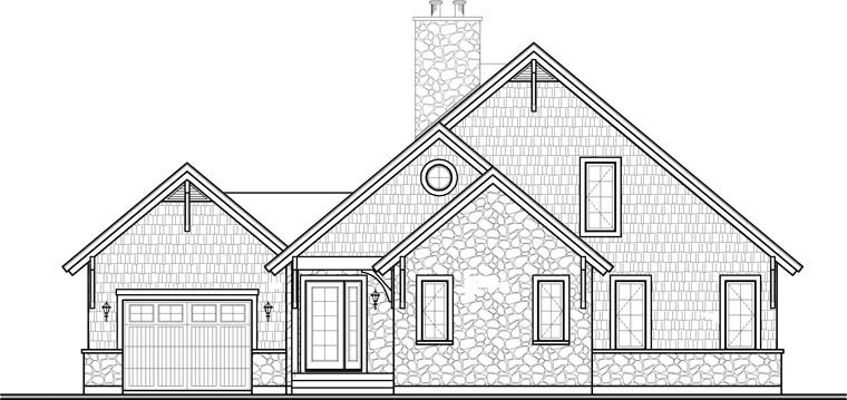 Coastal, Country, Craftsman, European, Traditional House Plan 64810 with 3 Beds, 3 Baths, 1 Car Garage Rear Elevation
