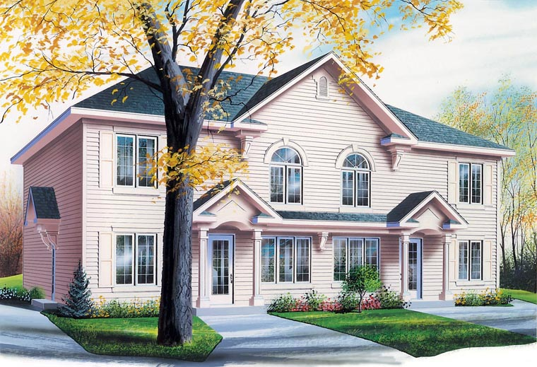 Colonial Multi-Family Plan 64825 with 8 Beds, 4 Baths Elevation
