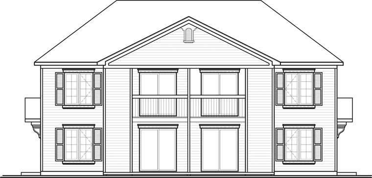 Colonial Multi-Family Plan 64825 with 8 Beds, 4 Baths Rear Elevation