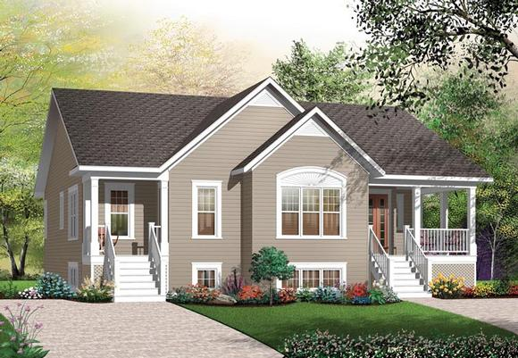 Bungalow Multi-Family Plan 64882 with 3 Beds, 2 Baths Elevation
