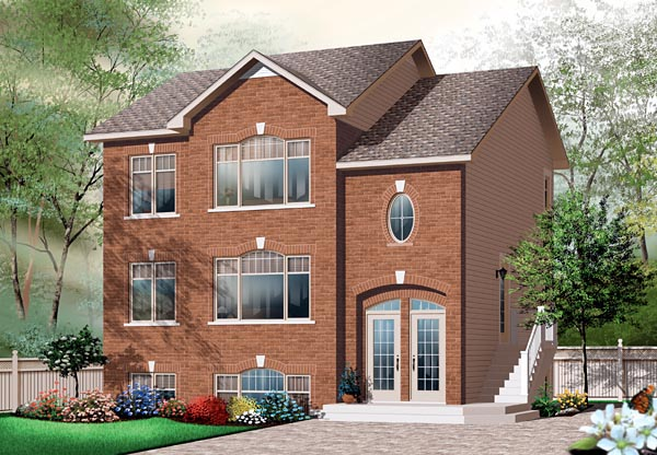 European, Narrow Lot Multi-Family Plan 64883 with 6 Beds, 3 Baths Elevation