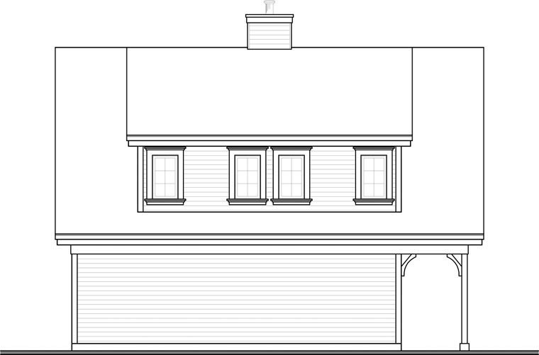 Country, Craftsman, Traditional 2 Car Garage Apartment Plan 64902 with 2 Beds, 2 Baths Rear Elevation