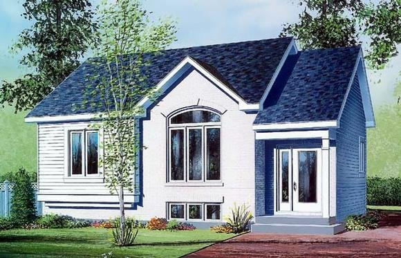 House Plan 64925 with 2 Beds, 1 Baths Elevation