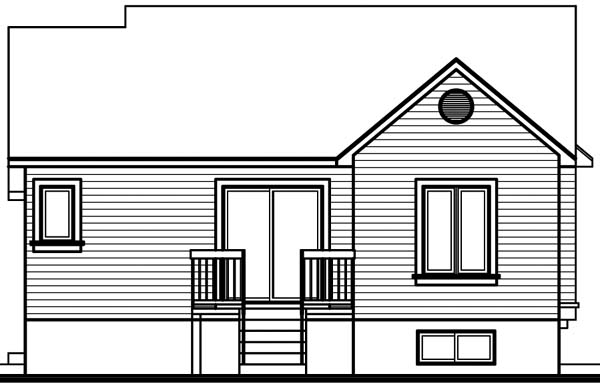 House Plan 64925 with 2 Beds, 1 Baths Rear Elevation
