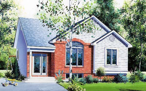 House Plan 64926 with 2 Beds, 1 Baths Elevation