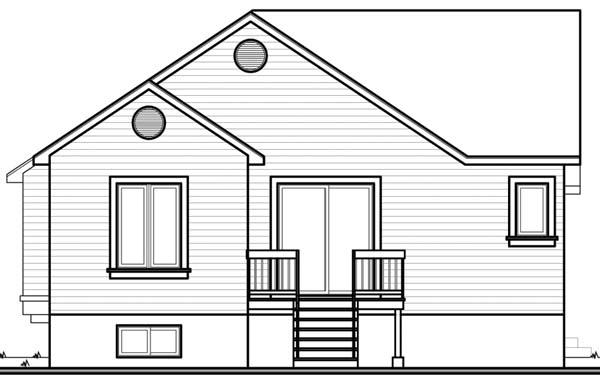 House Plan 64926 with 2 Beds, 1 Baths Rear Elevation