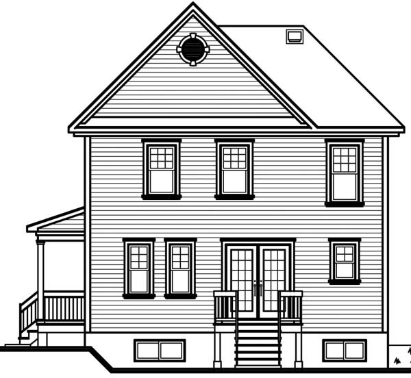 House Plan 64942 with 3 Beds, 2 Baths Rear Elevation