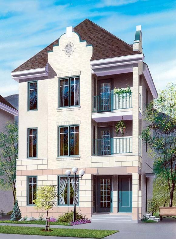 Multi-Family Plan 64953 with 3 Beds, 3 Baths Elevation