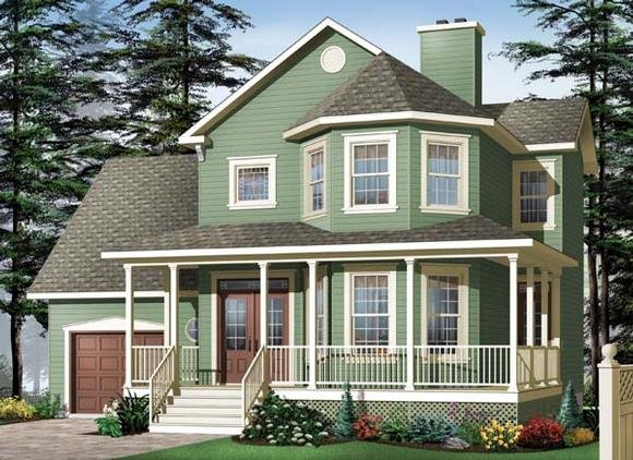 Country, Southern, Victorian House Plan 64968 with 3 Beds, 3 Baths, 1 Car Garage Elevation