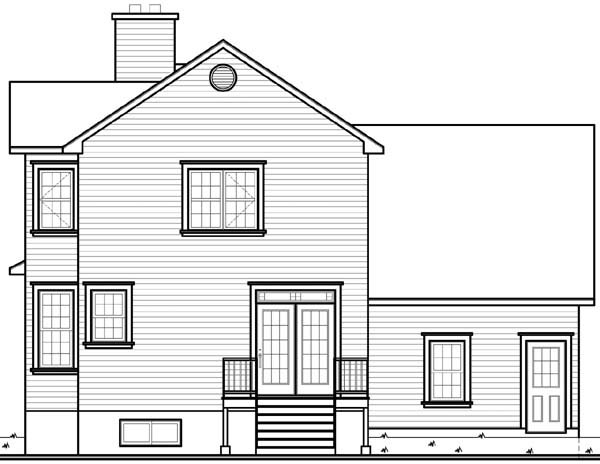 Country, Southern, Victorian House Plan 64968 with 3 Beds, 3 Baths, 1 Car Garage Rear Elevation
