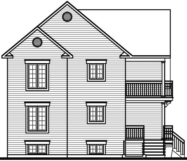 Traditional Multi-Family Plan 64970 with 6 Beds, 3 Baths Rear Elevation