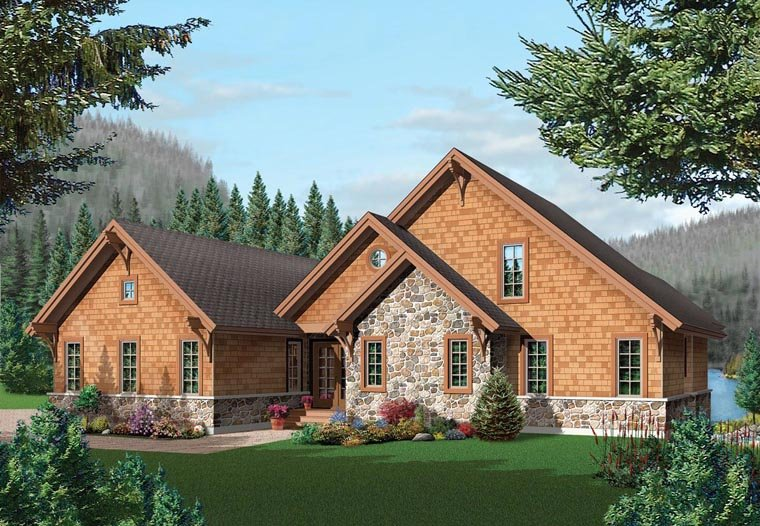 Coastal, Country, Craftsman House Plan 64981 with 5 Beds, 4 Baths, 2 Car Garage Elevation