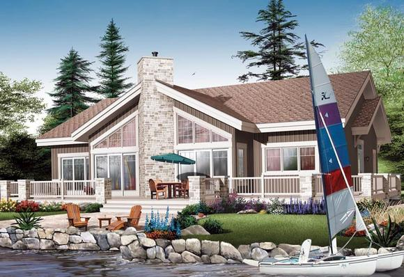 Contemporary House Plan 64982 with 4 Beds, 3 Baths Elevation