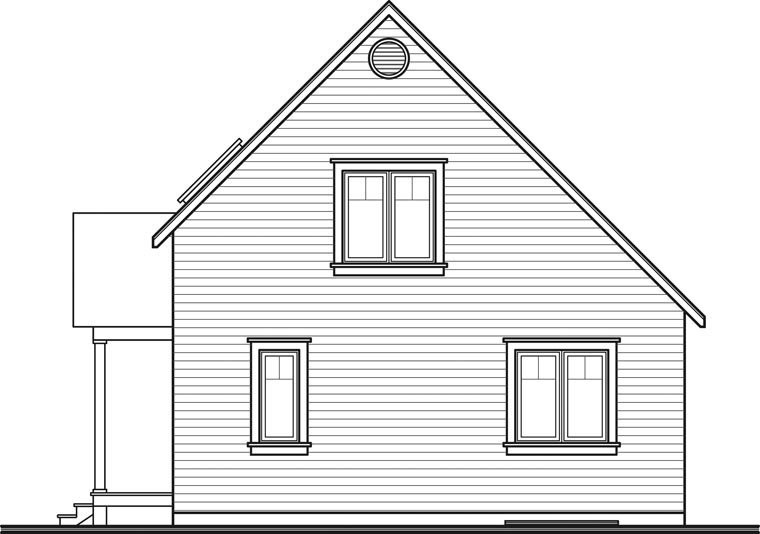 Cabin, Country House Plan 64983 with 2 Beds, 2 Baths Rear Elevation