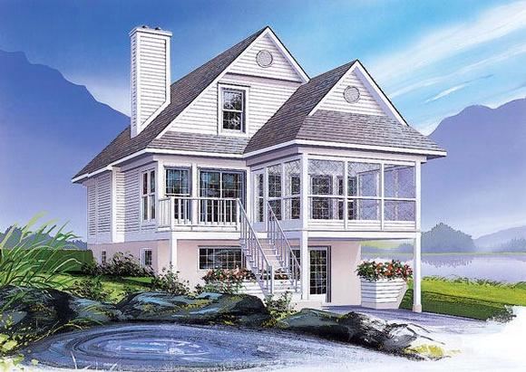 Coastal, Cottage, Traditional, Victorian House Plan 64985 with 3 Beds, 2 Baths Elevation