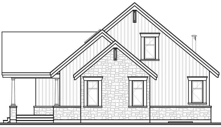 Craftsman House Plan 64988 with 3 Beds, 2 Baths Rear Elevation