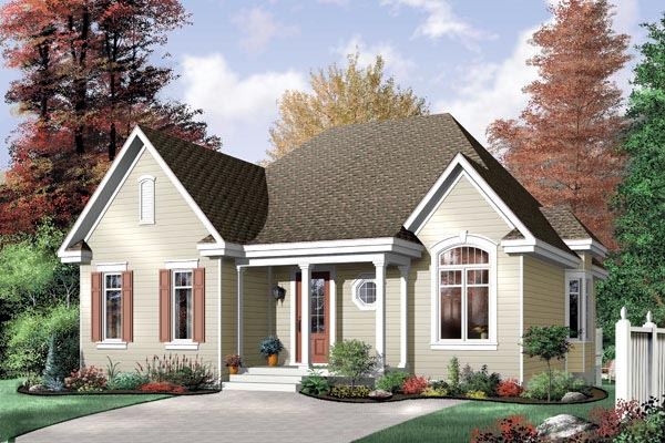 Narrow Lot, One-Story, Traditional House Plan 64990 with 3 Beds, 1 Baths Elevation