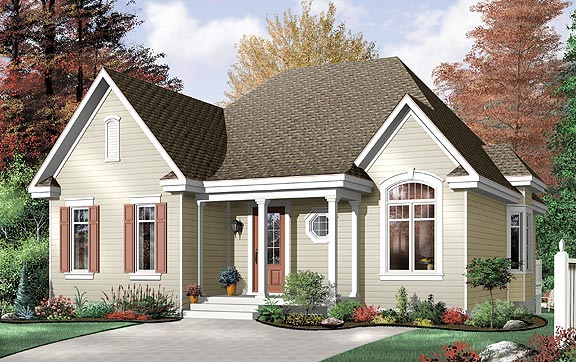 Narrow Lot, One-Story, Traditional House Plan 64994 with 3 Beds, 1 Baths Elevation