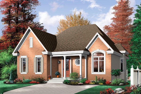Narrow Lot, One-Story, Traditional House Plan 64997 with 3 Beds, 1 Baths Elevation